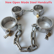 купить NEW open way stainless steel hand cuffs  bdsm bondage restraints fetish sex game erotic toys bondage adult sex toys for couples по цене 4857.31 рублей