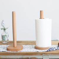Kitchen Wooden Roll Paper Towel Holder Bathroom Tissue Toilet Paper Stand Napkins Rack Square base Home Table Tool Accessories