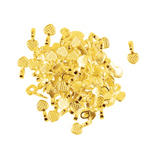 100 PCS Alloy Shiny Gold Heart Glue on Bails Pendants Setting For Earrings Necklaces Pendant Making DIY Jewelry Making