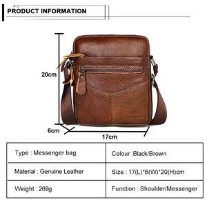 Image 2 - ผู้ชายกระเป๋าหนังวัวหนังMessenger Flapขนาดเล็กกระเป๋าสำหรับบุรุษกระเป๋าCrossbodyสีดำ