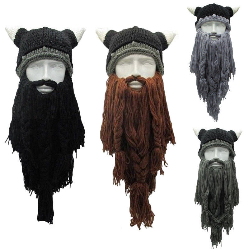 Men's Knit Viking Beard Horn Hat Crazy Ski Cap Barbarian
