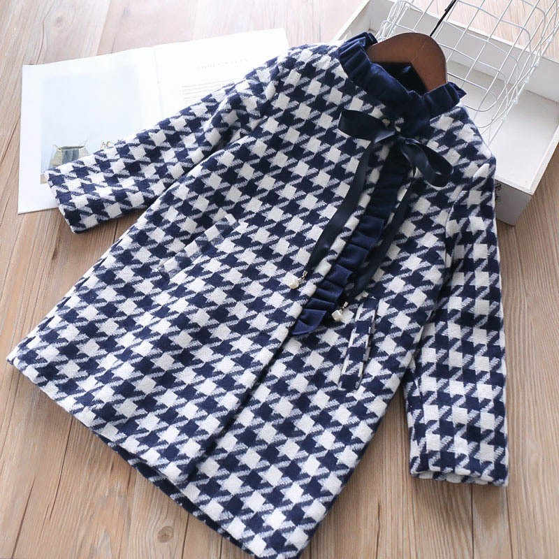 girl winter coat for girls jacket plaid big bow fashion girls wool coat baby girl clothes