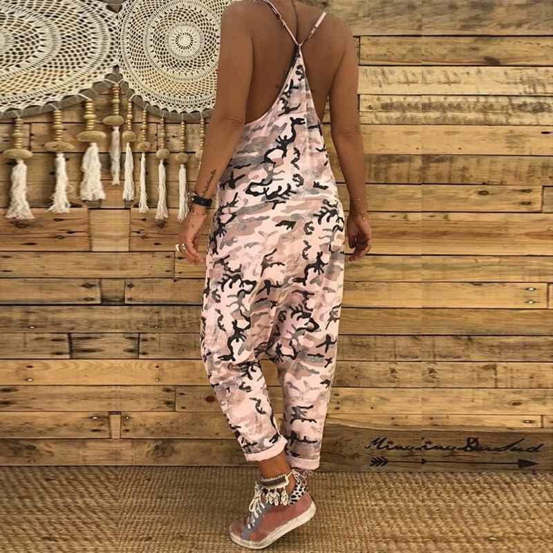 2019 летняя модная камуфляжная форма, женские сексуальные комбинезоны с глубоким v-образным вырезом, с заниженным шаговым швом, вечерние длинные штаны, Pantalon