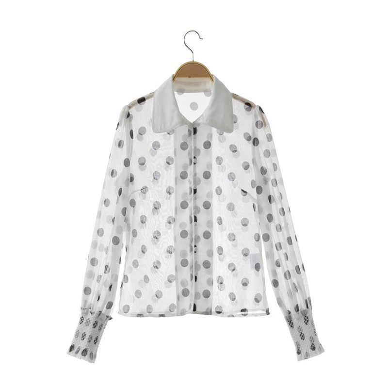 Весенний дизайнерский комплект из двух предметов для подиума, Женская белая черная шифоновая блузка в горошек с длинными рукавами + белые короткие комплекты из двух предметов