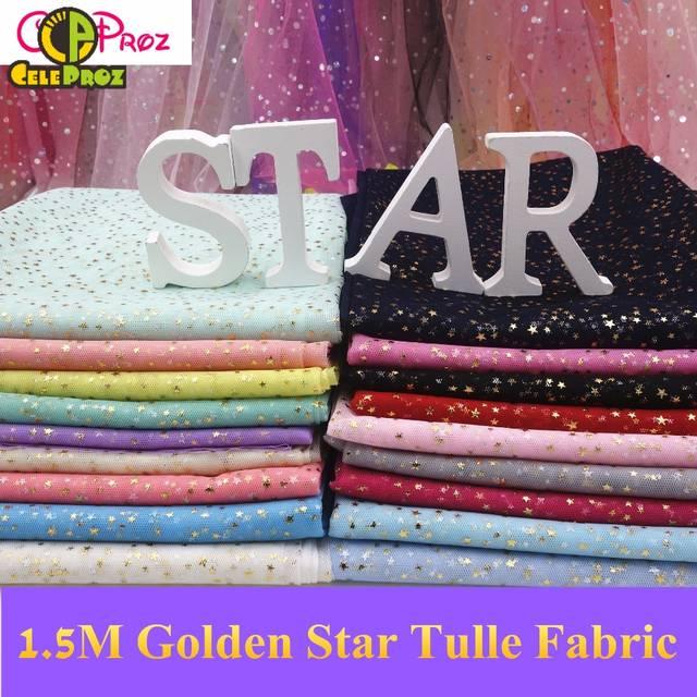 3027a48e55 placeholder 1 M Estrela Dourada Tecido Tule Glitter Estrela Saia de Tule  Tecido de Organza Tutu Festa