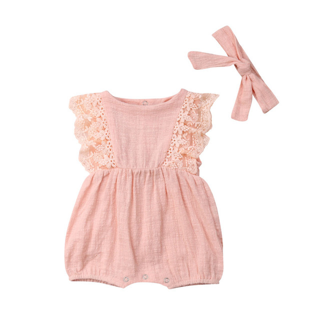 c4df4b3fc3d Cute Baby Girls Pink Lace Romper Summer 2pcs Infant Kids Sleeveless Lace  Flower Jumpsuits + Bow Knot Headband Princess Outfits
