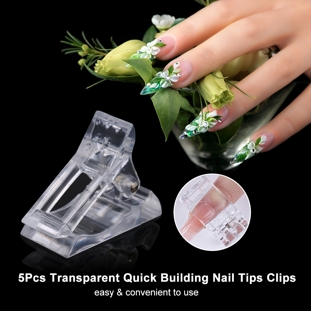 5Pcs Transparent Poly gel Quick Building Nail Tips Clips Finger Nail Extension UV LED Plastic Builder Clamps Manicure Nail Art