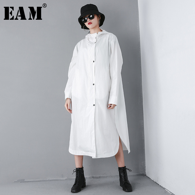 [EAM] 2019 New Spring Summer Hooded Long Sleeve Black Pattern Printed Loose Big Size Windbreaker Women   Trench   Fashion Tide JQ628
