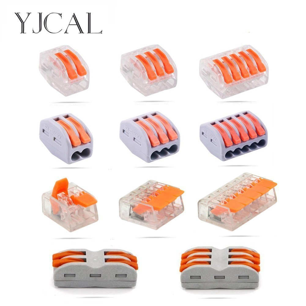 YJCAL Wago Type 10PCS Electrical Wiring Cage Spring Universal Fast Terminal Household