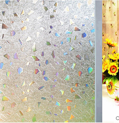 PVC Static Cling Stained Glass Decorative Window Film Privacy Bathroom Laser Gems Stickers