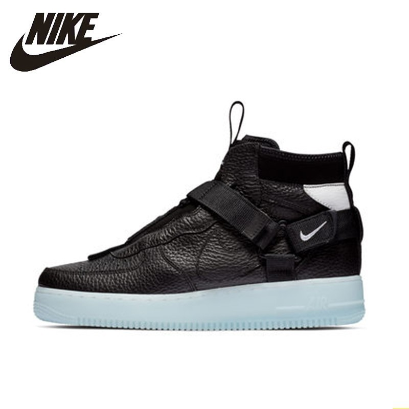 NIKE AIR FORCE 1 UTILITÁRIO MID Tênis Dos Homens Sapatos de Skate Nova Chegada Anti-Escorregadio Confortável # AQ9758-001