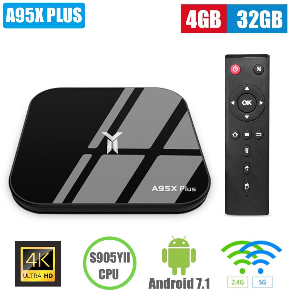 A95X PLUS S905YII Smart TV Box 4 K HD TV Box 4 GB 32 GB décodeur BT4.2 Flash Drive 2.4/5 GHz WiFi lecteur multimédia intelligent pour Android