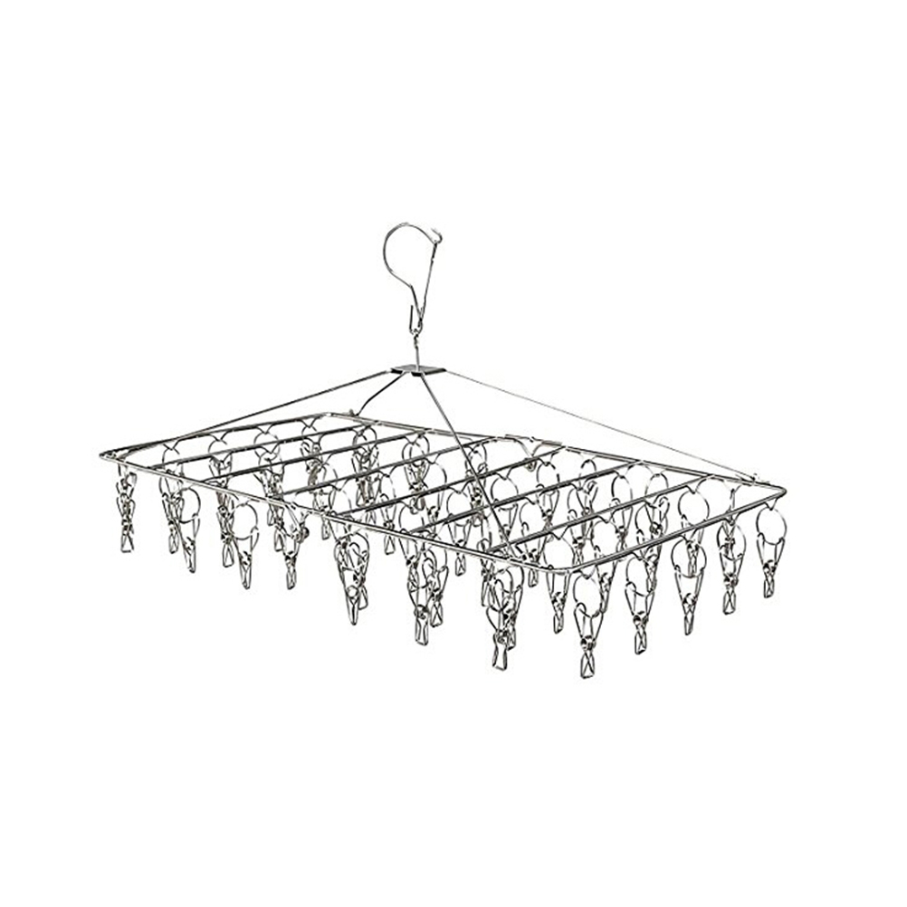 Stainless Steel Drying Racks Laundry Hanger With Set Of 52 Clothespins For Drying Clothing Towels Diaper Underwear Socks