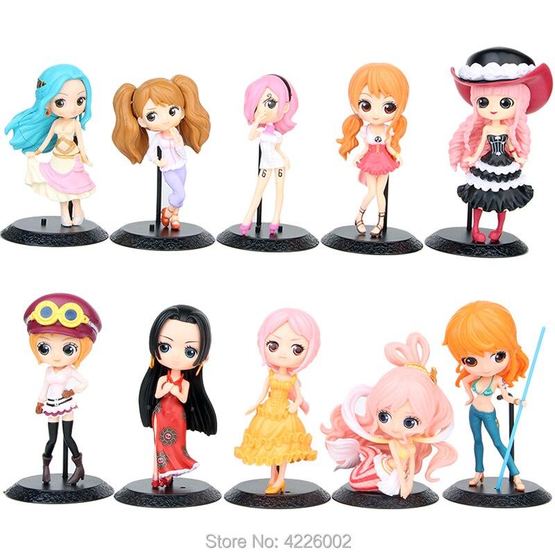 Qposket One Piece Action Figure Nami Boa Hancock Nefeltari Vivi Reiju Shirahoshi Hime Koala Figurine Kids Toys Collectible Doll