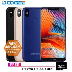 DOOGEE BL5500 Lite u-образный смартфон 6,19 дюймов MTK6739 4 ядра 2 Гб оперативной памяти 16 Гб rom 5500 Max две sim карты 13.0MP Android 8,1