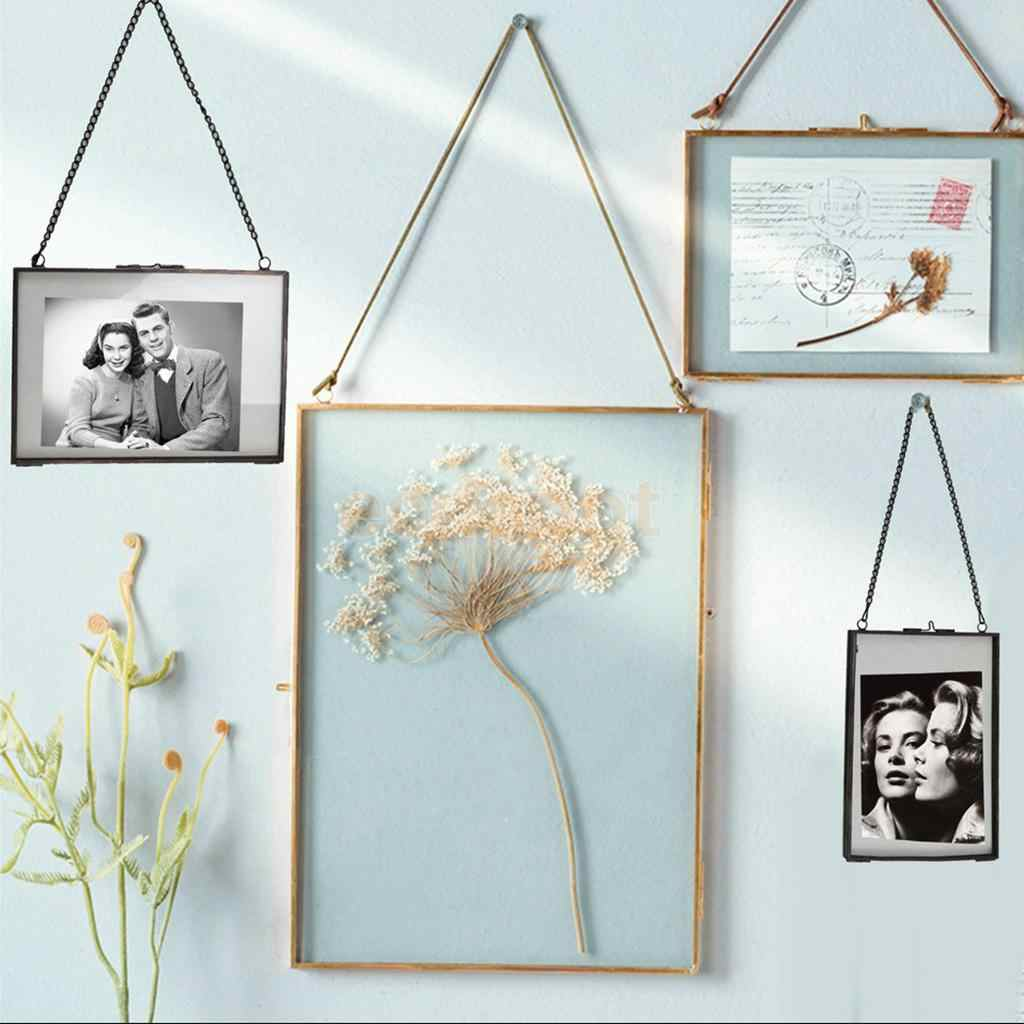 MagiDeal Industrial Style Double Sided Glass Hanging Photo Frame Wall Frame Flower Plant Specimen Portrait Display Frame Holder