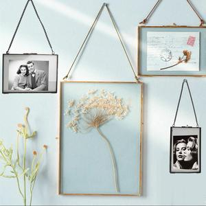 MagiDeal Industrial Style Double Sided Glass Hanging Photo Frame Wall Frame Flower Plant Specimen Portrait Display Frame Holder
