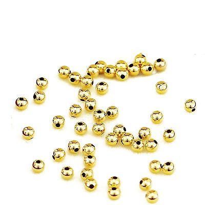 10pcs Hot Sale 999 Pure 24K Yellow Gold 3mm Lucky Smooth DIY Bead Fine Pendant