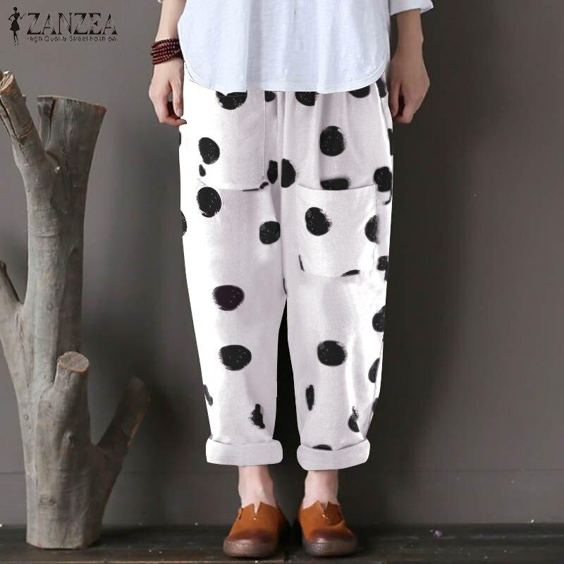 Women Pants Zanzea 2019 Female Dot Print Harem Pants Ladies Casual Loose Long Trousers Cotton Linen Pockets Pantalon Plus Size