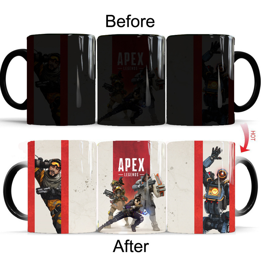 Newest Style Ceramic Cups Changing Color Mug Milk Coffee Mugs Friends Gifts Student Breakfast Cup Apex Legends Mugs in Coffee Cups Mugs from Home Garden