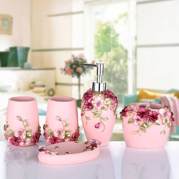 Wedding Gift Bathroom Products European Style Garden Resin Bathroom Five-piece Sets Four Colors Bathroom Toothbrush Holders