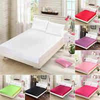 Textiles para el hogar de satén de seda equipado hoja de Color sólido 19mm sin costura de Color sólido tamaño de la Reina de la hoja de cama 16 Color disponible