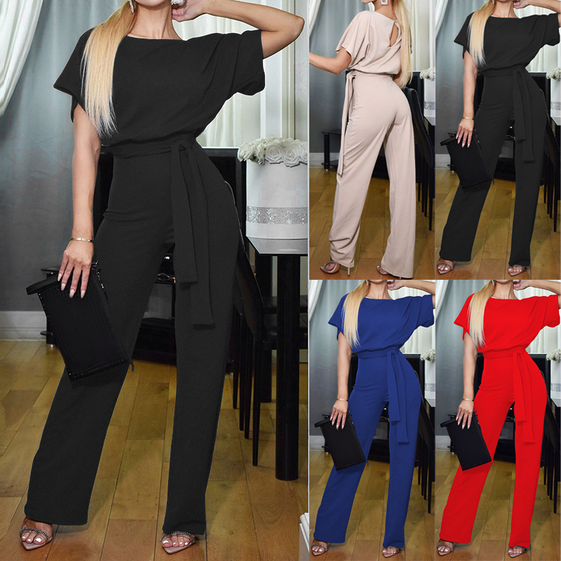 Women's Short Sleeve Round Neck Commute Solid Color Casual Tie Up Long   Jumpsuit