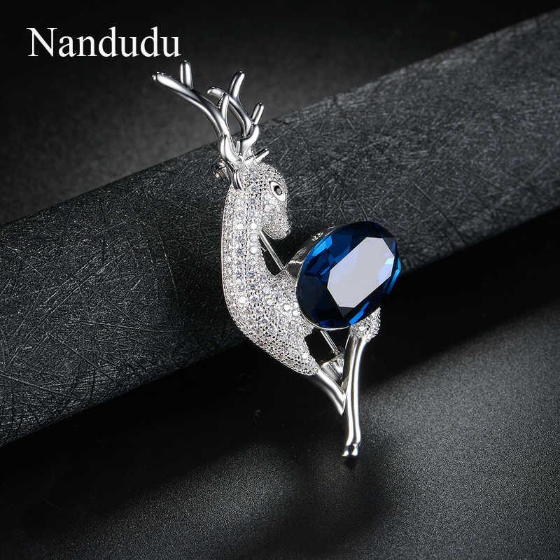 Nandudu Vintage Kristal Biru Unisex Kecil Rusa Bros untuk Wanita Syal Bros Pin Perhiasan Natal Rusa Hadiah X296