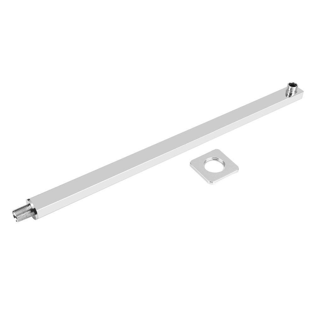 40cm Square Shower Arm Extension Arm Wall Hanging Shower Head Shower Rod Shower Head Arm Chrome Fixed Tube Wall Mount Bracket