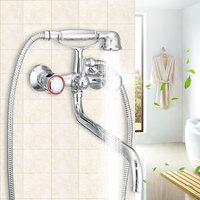 Xueqin Chrome Telephone Type Bathroom Shower Head Set Wall Mounted Double Handle Bath Faucet Shower Faucets Handheld Spray