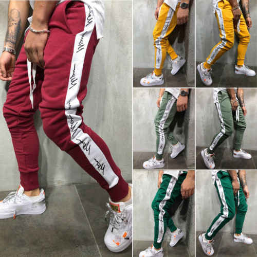 Running Pant Mens Slim Fit Tracksuit Bottoms Loose Jogging Joggers Sweat Pants Exercise Sportwear Trousers