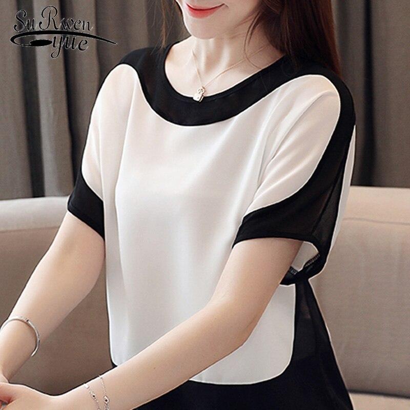 Blusas mujer de moda 2019 manga curta verão feminino blusas plus size chiffon blusa branca das mulheres tops e blusas 3397 50