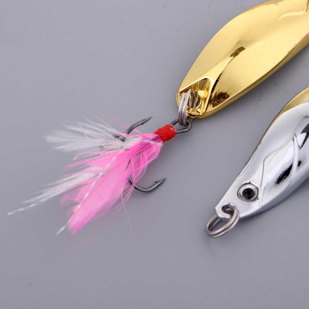 2 piezas cuchara de señuelo de pesca cebos Spinner-portátil de Spinner plantilla cuchara hoja cebos Kit para bajo trucha salmón perca pesca