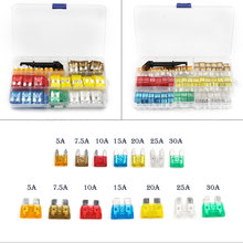 119pcs Car Fuse 5A 7.5 A 10A 15A 20A 25A 30A + Clip Amp with Plastic Box Assortment Auto Blade Fuse(China)