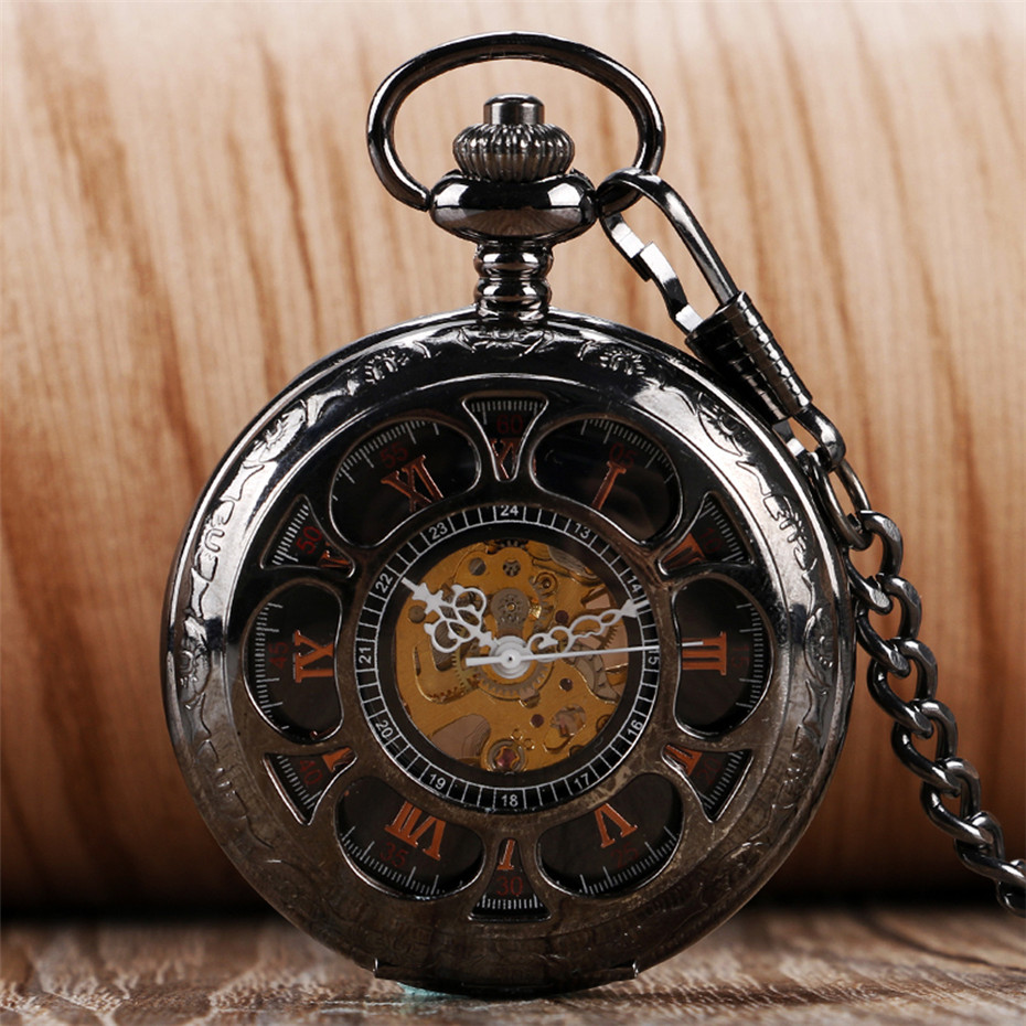Hollow Flower Mechanical Hand Wind Pocket Watch With 30cm Pocket Chain Old Fashion Pendant Fob Clock Gifts For Men Women Reloj
