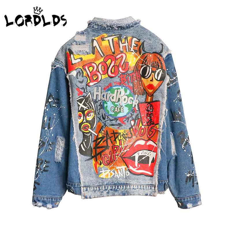 LORDLDS Jean Jacket Oversize Women Coat Outerwear Spring Patchwork Fashion New Turn-Down-Collar