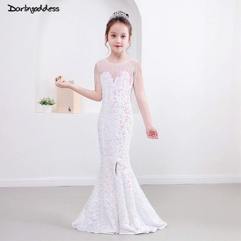 Elegant White Sequin Mermaid   Flower     Girl     Dresses   for Weddings 2019 First Communion   Dresses   for   Girls   Kids Evening Party Gowns