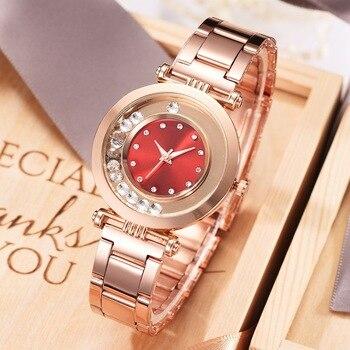 цена на Women Watches Luxury Brand Rose Gold Watch Women Quartz Diamond Bracelet Ladies Wrist Watches for Women Gifts Relogio Feminino