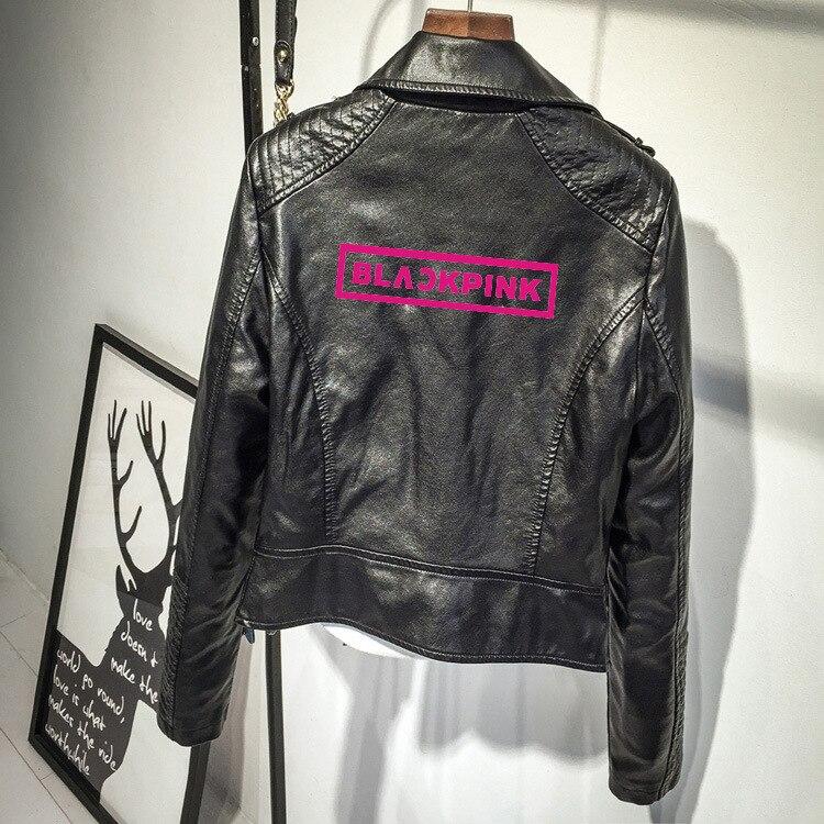 Kpop BLACKPINK корейский тонкий кожаный жакет розовый/черный Женская мода уличная куртка 2020 Новая мода короткая куртка женская одежда