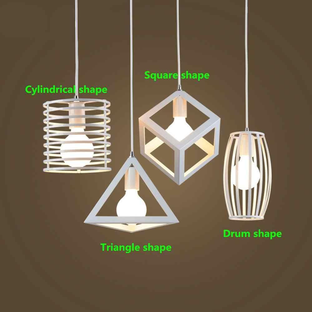 الأبيض الحديد قفص مصباح متدلي مكعب أضواء معدنية ملحق الحديد لوفت السقف الصناعية الرجعية مصباح معلق للمنزل بار مقهى الفن