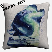 Splatter Wolf Watercolor Soft Cotton Linen Cushion Covers 45x45cm Vintage Pillowcase For Sofa Home Decoration