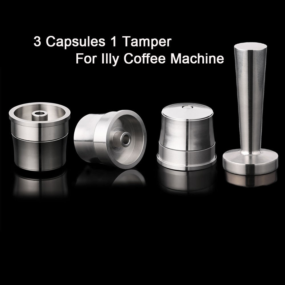 4PCS/set Stainless Steel Reusable Illy Coffee Filter Refillable Capsule Cup Pod Tamper For ILLY Machine Illy Refill Capsula Gift4PCS/set Stainless Steel Reusable Illy Coffee Filter Refillable Capsule Cup Pod Tamper For ILLY Machine Illy Refill Capsula Gift