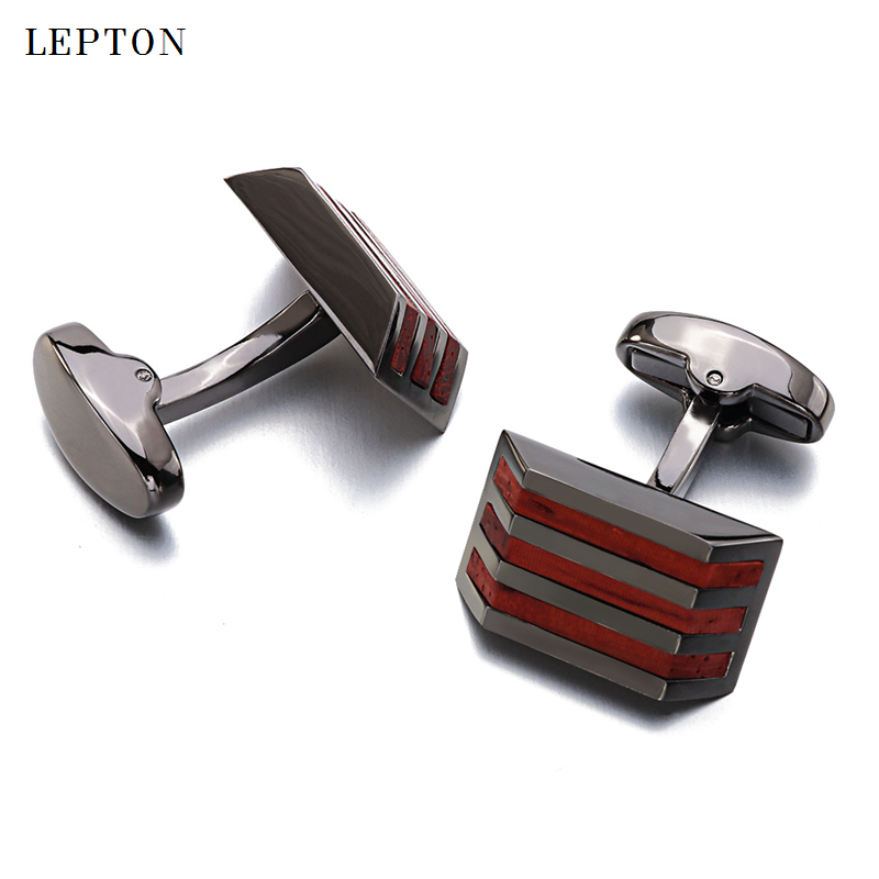New Wood Cufflinks High Quality Lepton Brand Jewelry Fashion Square Rosewood Cuff links For Mens Gift Formal Business wedding in Tie Clips Cufflinks from Jewelry Accessories