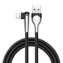 90 Degree For Lightning Cable Charge for iPhone XS Max 7 X 8 6 6s Plus 2.4 Fast Charger Cord Cable for iPhone Charging Cable USB