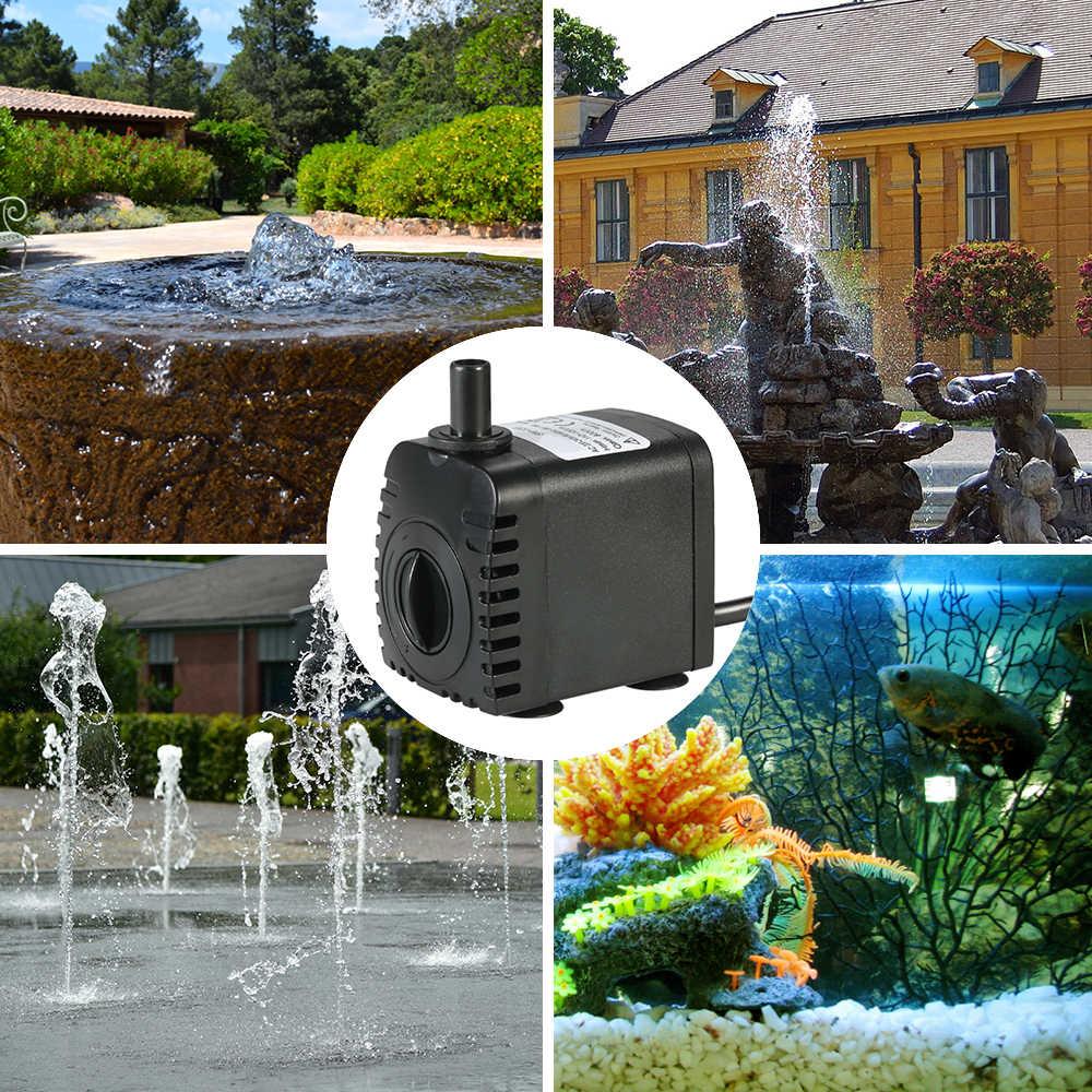 600л/ч 8 Вт погружной водяной насос для аквариума настольные фонтанчики пруд водные сады и гидропонные системы с 2 насадками