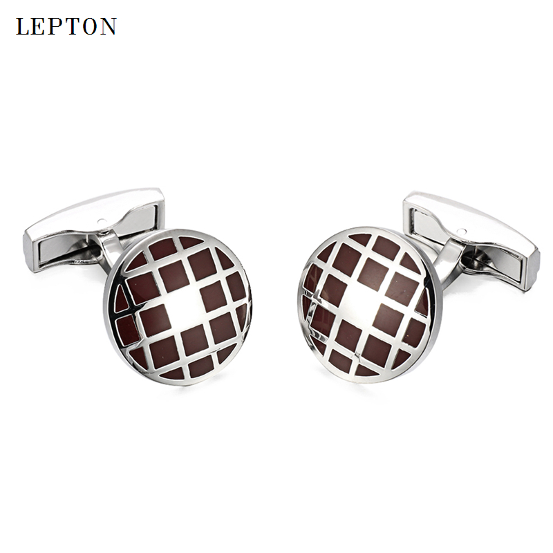 Lepton shirt cufflinks for mens fashion round dark red enamel cuff link button high quality luxury wedding groom With Gift Box in Tie Clips Cufflinks from Jewelry Accessories