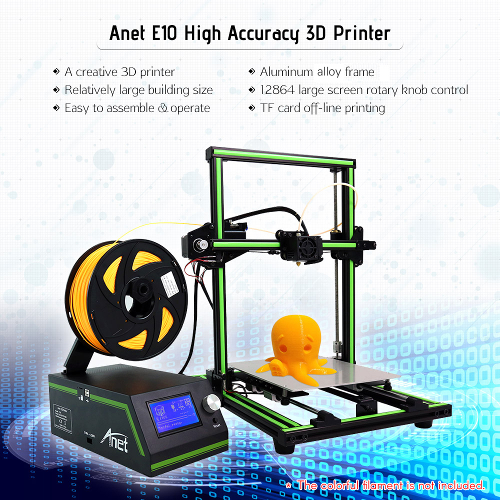 Anet E10 3D Printer DIY Kit Partially Assembled Multi-language Software Aluminum Alloy Frame 220*270*300mm with 8GB TF Card