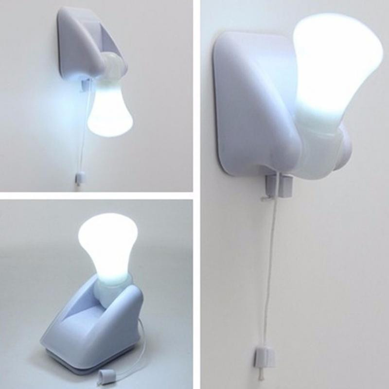 LED Bulb Cabinet Closet Lamp Pull Cord Night Lights Self Adhesive Wall Light Hallway Bedroom Lighting Battery Operated
