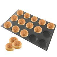 Bluedrop silicone hamburg form round shape bread bun baking sheet burgers mold fiberglass mould 4 inch 15 caves