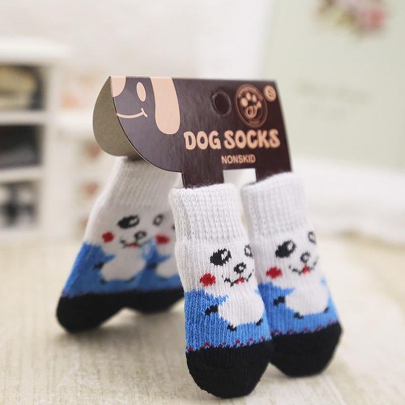 4pcs Warm Puppy Dog Shoes Sock Soft Acrylic Pet Knits Socks Cartoon Anti Slip Skid Socks For Small Dogs Pet S/M/L Random Color
